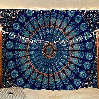 Bless International Indian Hippie Bohemian Psychedelic Peacock Mandala Wall Hanging Bedding Tapestry (Blue Green, Twin(54x72Inches)(140x185cms))