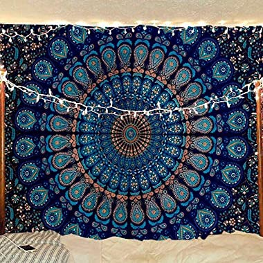 Bless International Indian hippie Bohemian Psychedelic Peacock Mandala Wall hanging Bedding Tapestry (Blue Green, Queen(84x90Inches)(215x230Cms))