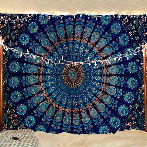 Décoration murale à suspendre ou jeté de lit de style indien, hippie, Bohème, avec mandala plume de paon, Coton, bleu / vert, Queen(84x90Inches)(215x230Cms)