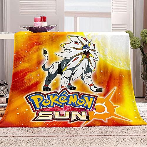 GHFFBUX Couvertures et Plaids 3D Imprimé Pokémon Anime Sherpa Flanelle Polaire Douce Moelleuse Couverture de Lit Plaid Jeté de Canapé Convient Adultes et Enfants 70x100cm