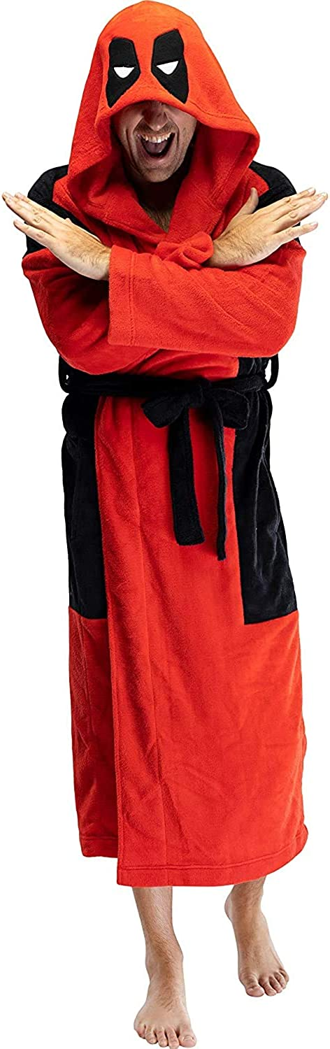 Direct store Marvel 40% OFF Cheap Sale Deadpool Adult Men's Embroidered Fleece Bath Costume Robe