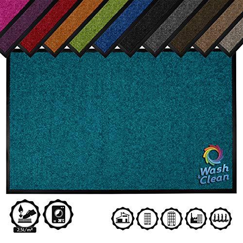 TRENDYHOME24 Fußmatte,Schmutzfangmatte Waschmaschinengeeignet Qualität aus Belgien -Polyamid (WASH/CLEAN_Petrol-27, 120 cm x 180 cm)