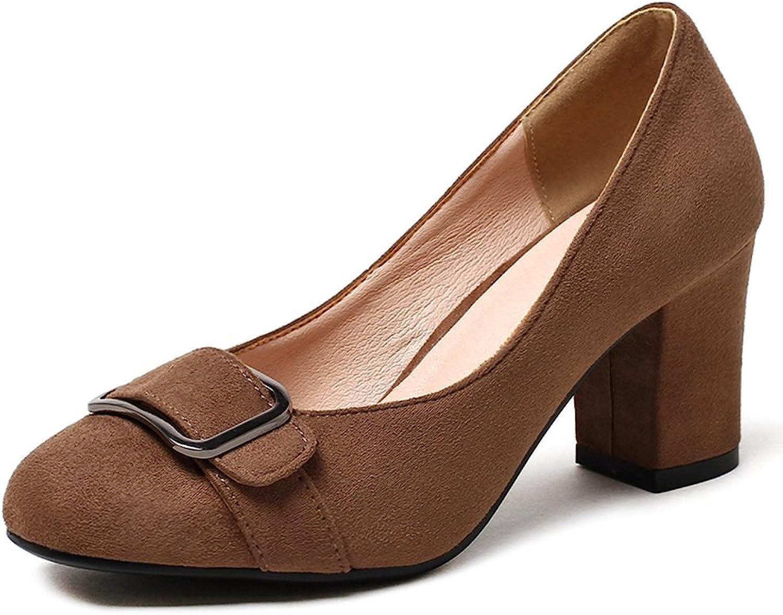 KingRover Women's Elegant Closed Toe High Block Heel Pumps Buckle Low Cut Slip on shoes