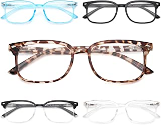 NOVIVON 5-Pack Blue Light Blocking Reading Glasses, Fashion Square Nerd Readers for Men/Women Anti UV Ray Computer Eyeglasses