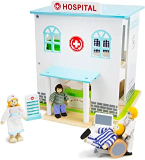 Wooden Wonders Helping Hands Hospital Playset, Includes Dolls and Furniture (14 Pieces) by Imagination Generation