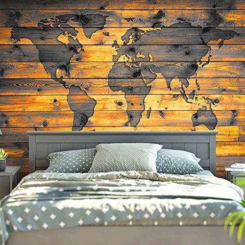 Mapa del mundo Tapiz de pared para colgar en la pared, manta para decoración de casa de campo, decoración de madera, mundo vintage