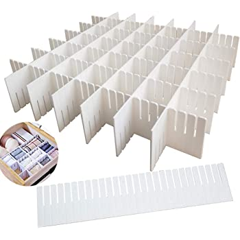 12PCS DIY Plastic Grid Drawer Dividers,White Adjustable Sock Underwear Dresser Drawer Organizers Divider for Stationary Storage