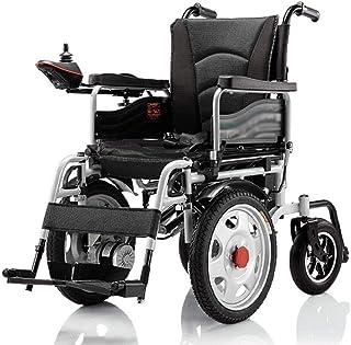 SLRMKK Silla de Ruedas Plegable portátil, Silla de Ruedas eléctrica Plegable Portátil Inteligente Automático Anciano Silla de Ruedas Scooter para discapacitados, Negro
