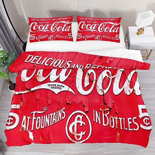 Set di biancheria da letto per letto matrimoniale, motivo Coca Cola, 3 pezzi, copripiumino e 1 federa per cuscino, 1 copripiumino