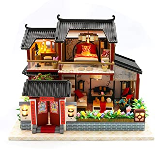 Per Miniature Dollhouse Kit Decorations with Lights and Furniture DIY House Craft Kits DIY Small House Model Puzzle Building Model Assembling Dollhouses for Adults and Kids