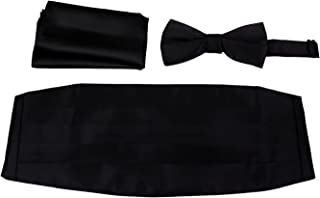 Mens Formal Woven Satin Cummerbund Pre-Tied Bowtie Hanky set - Many Solid Colors Available