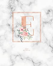 Dotted Journal: Dotted Grid Bullet Notebook Journal Rose Gold Monogram Letter E Marble with Pink Flowers (7.5 X 9.25) for Women Teens Girls and Kids