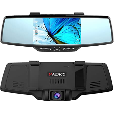 YAZACO ドライブレコーダー ミラー 前後カメラ 【独自な技術 自動的に駐車モードに切り替え】【センターカメラ 右ハンドル仕様】 Sony センサー GPS搭載 5.0インチIPS画面 1080P FHDフルHD 前170°後140°大広角レンズ ドラレコ 暗視機能 24時間駐車監視 ループ録画 衝撃録画 WDR 最大256GB対応 温度対策 防水バックカメラ 日本語取説付 18ヶ月保証期間