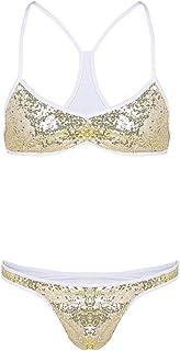 iiniim Mens Shiny Sequins Spaghetti Strap Cross Back Bra Top Low Rise Briefs Thong Underwear Sissy Lingerie Set Bikini Swi...