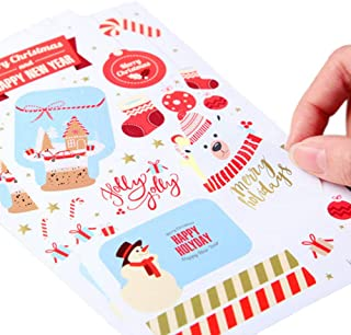 gerFogoo Christmas Stickers with Snowman, Reindeer, Tree, Bear, Santa Claus Happy Faces Xmas Kids Stickers Decals for Toys Gifts Crafts Decorations. 5 Packs,50pcs, 850 Stickers.
