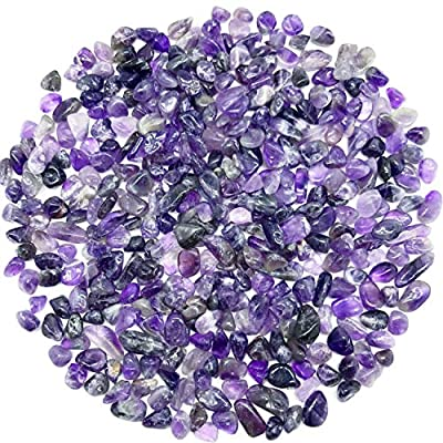 Tesh Care 2 LBS Tumbled Amethyst Crystals Chips Crushed Crystal Stones, with 2 Miniature Bunnies, Healing Home Indoor Decorative Stones