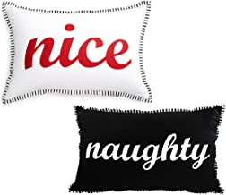 Celebrate Shop 20 x 13-in Reversible Naughty/Nice Decorative Throw Pillow, Black/White