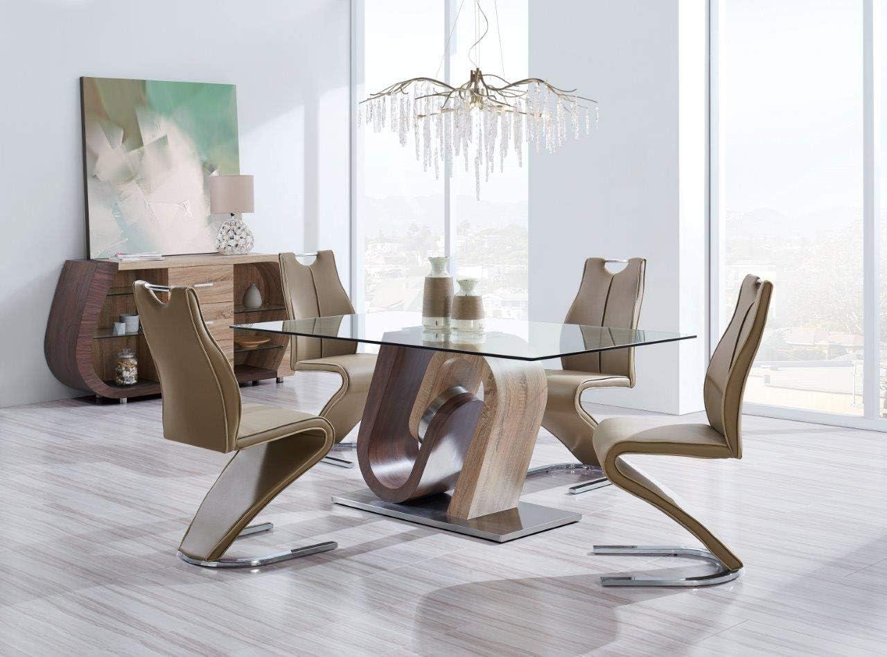 Global Furniture - D4126 Modern 5-Piece Dining Room Set - Dark Brown/Light Brown Finish