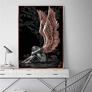 nr Ángeles y Demonios Lienzo Pintura Gris Personaje alas Carteles impresión Pared Arte Imagen para Sala de Estar -60x90 cm sin Marco