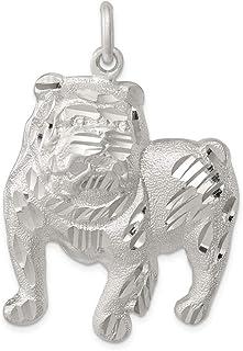 Diamond2Deal - Ciondolo a forma di cane di toro in argento Sterling 925