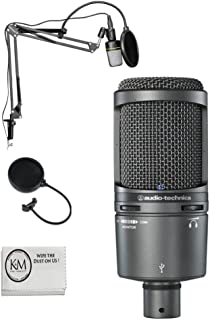 Audio Technica AT2020 USB Plus Microphone w/Black Suspension Boom Stand
