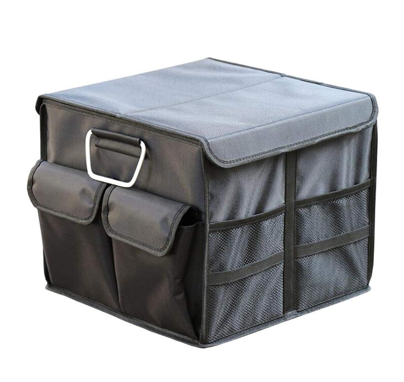 渦楽な成熟したHSBAIS 貨物保管ふた付きの車用ポケット?ケース?カバー、折りたたみ式 ポータブル トランク収納ボックスは金属製のハンドル付き車の収納ボックスと容量36L,Black_35x35x30CM