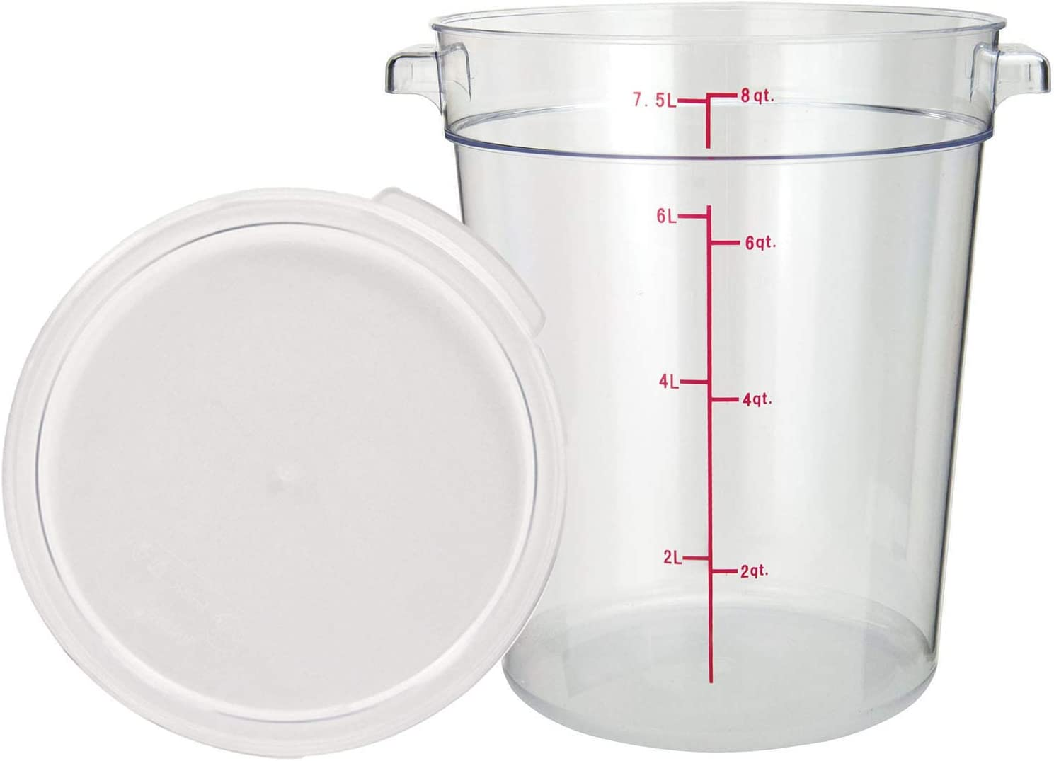 Tiger Tampa Mall Chef 8 Quart Commercial Max 87% OFF Grade Storage Pol Food Clear Round