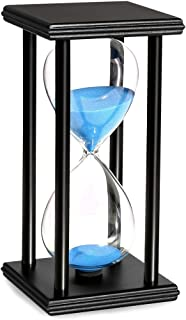 20 Minute Hourglass Blue Sand Timers Wooden Black Stand Hourglass Clock for Office Kitchen Decor Home