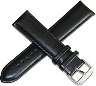 22MM Black Leather Watch Strap, Silver Buckle fits 42mm Skyline Chronograph Watch