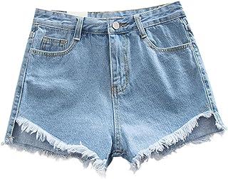Bestwo Women's Denim Frayed Hem Hot Shorts High Waist Short Pants with Pockets