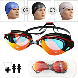 R.Y.S.E Ryse Swimming Goggles, Anti-Fog UV Protection No Leaking, Polarized Swim Goggles with Mirror Lens Contain Swim Cap+Nose Clips+Earplugs for Men Women Adult Youth Kids Child