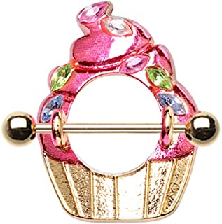 WildKlass Jewelry Sweetheart Enamel Bow and Gem Dangle Navel Ring 316L Surgical Steel