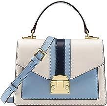 LA'FESTIN Leather Handbag for Women Fashion Color Block Design Top Handle Bag Crossbody Purse