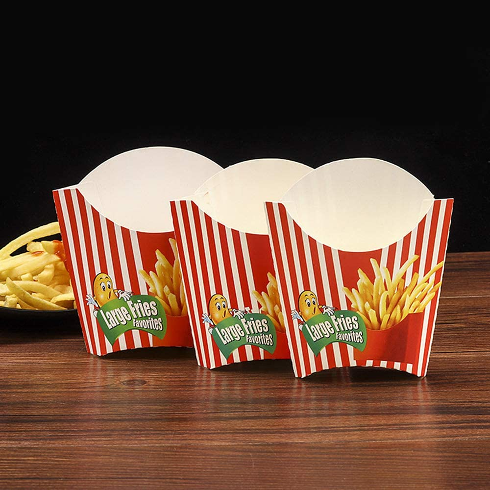 Focalmotors 20PCS Disposable Fast Food Fries Packing Box/French