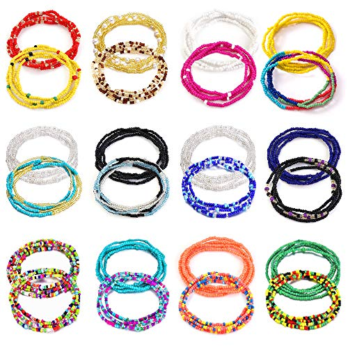 TOBENY 24PCS Waist Bead Chains for Women Colorful Summer Body Chains Belly Beads...