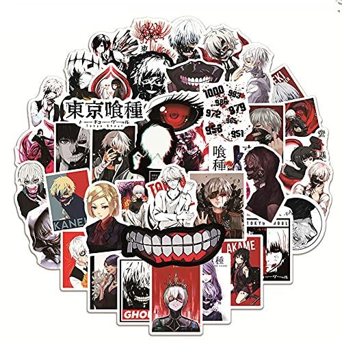 50 unids/Pack Tokyo Ghoul Anime Pegatinas para Equipaje Motocicleta monopatín Guitarra Coche Fresco Impermeable PVC Pegatina de Dibujos Animados Juguete - 50 Piezas
