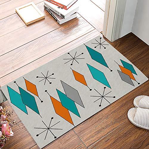 Fantasy Staring Front Door Mat Welcome Doormat- Retro Mid Century Modern Geometric Diamond Entrance Mat Low-Profile Floor Mat for Indoor/Outdoor/Home/Office, 20' x 31.5'