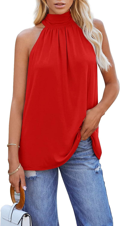 Ermonn Womens Summer Halter High Neck Tank Tops Sexy Sleeveless Shirts Modal Blend Casual Beach Tee Blouses