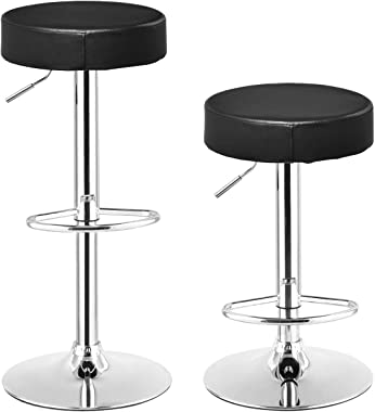 COSTWAY Swivel Bar Stool Round PU Leather Height Adjustable Chair Pub Stool w/Chrome Footrest (Black, 2 pcs)