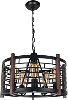Beuhouz Round Farmhouse Chandelier Lighting, Black Metal and Wood Drum Pendant Light Fixture Industrial Rustic Cage Chandelier for Dining Room 5 Lights Edison E26 8018