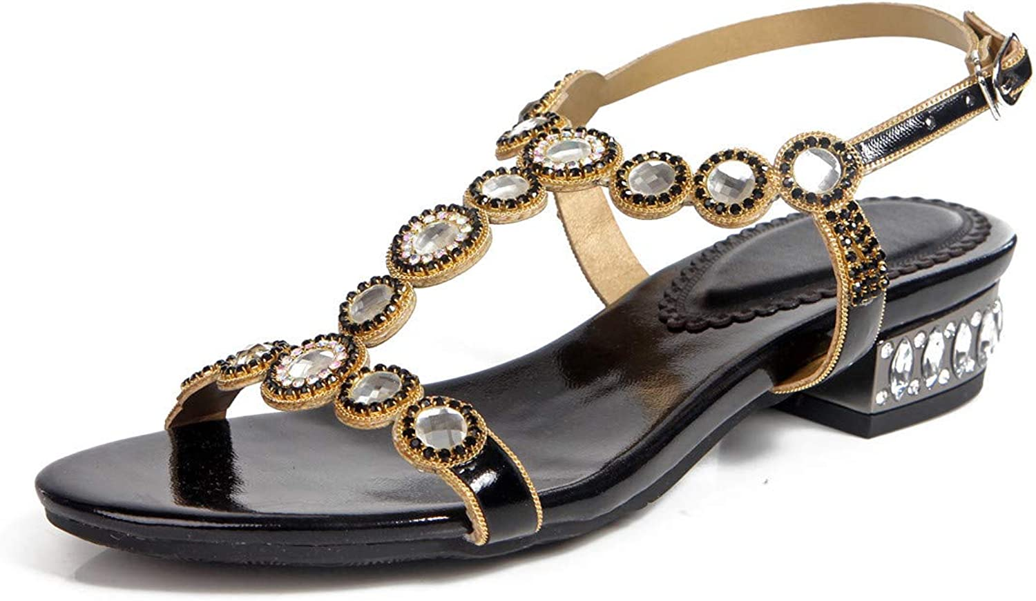 LLBubble Flat Rhinestone Sandals for Wedding Open Toe Ankle Buckle Strap Leather Formal Party Sandals ZX-L004