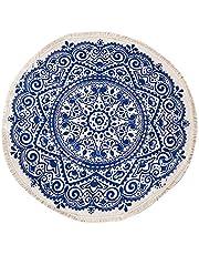 Gojiny Katoen rond gebied tapijten, 36 inch Machine Wasbaar Chic Bohemian Mandala Gedrukt Katoen Rond Tapijt met Kwasten Geweven Gooi Tapijt voor Slaapkamer Woonkamer