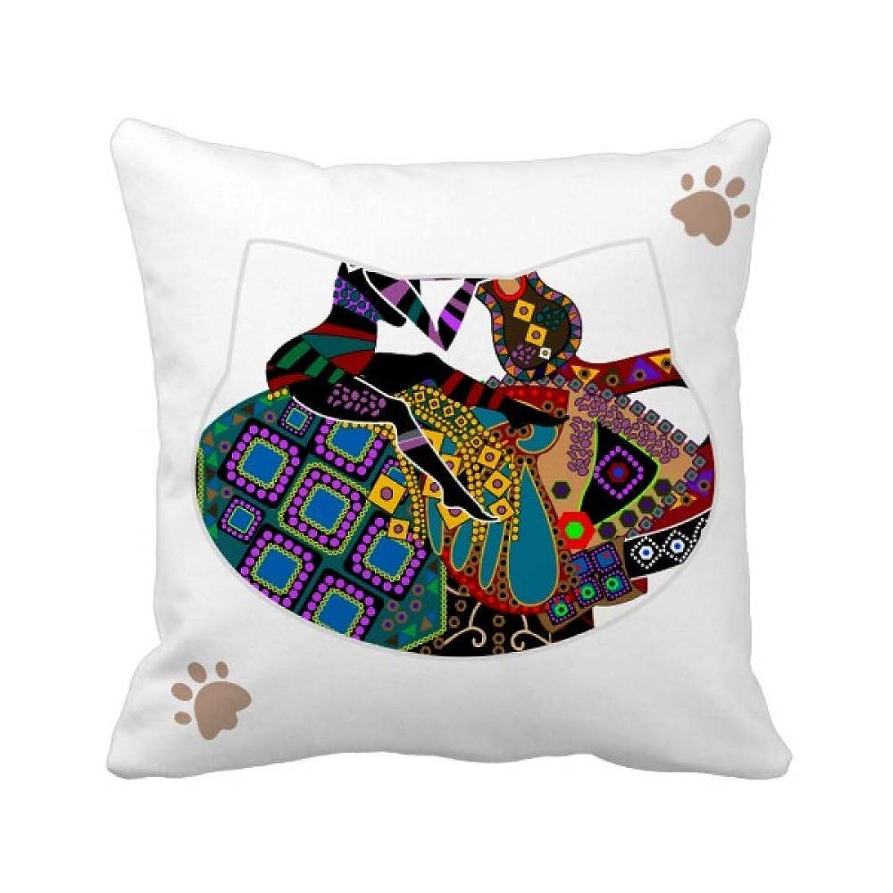 除去震えるもっと少なく中国の少数民族のドレッシングのトーテム象トレッキング 枕カバーを放り投げる猫広場 50cm x 50cm