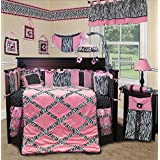SISI Baby Bedding - Pink Minky Zebra 14 PCS Crib Bedding Including Music Mobile by Sisi