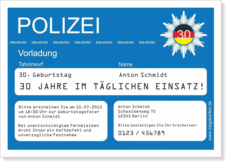 Einladungskarten zum Geburtstag als Polizeivorladung 70 Stück B00WQ0JWFG  | Verrückter Preis