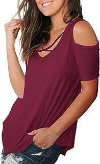 2c75ce955b3b18 Cold Shoulder Tops Short Sleeve T Shirts V Neck Blouse Casual Criss Cross  Tunic