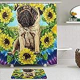 TARTINY 2-teiliges Duschvorhang-Set mit rutschfesten Teppichen,Sonnenblume Mops Daydream Lustige Möpse mit 12Haken,rutschfeste Badematte, wasserdichter Duschvorhang