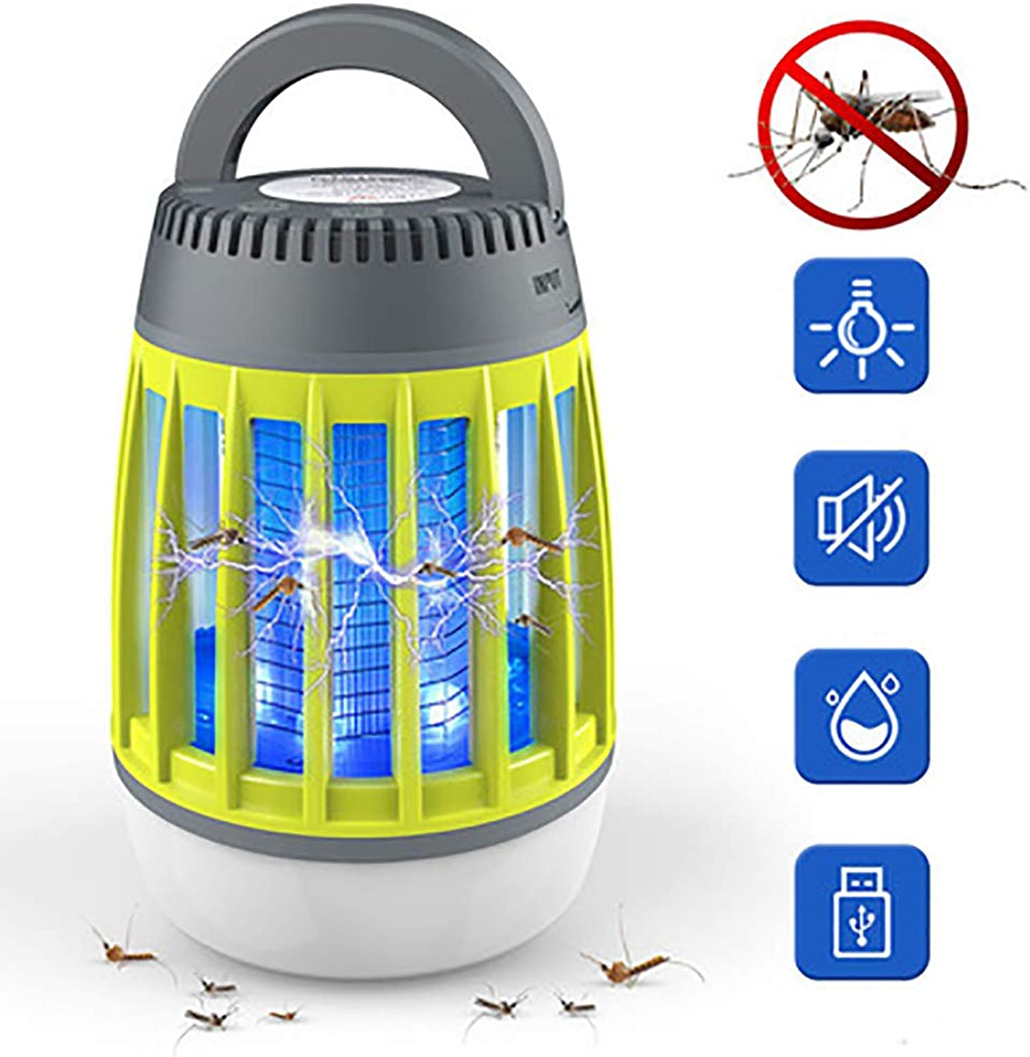 LED Camping Lantern MosquitoTent Light Mosquito Killer Lamp,Lightweight IP67 Waterproof and USB Rechargeable,Anti Bug Insect Repellent,Outdoor Green+Grey