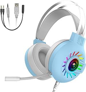 M10 ゲーミング ヘッドセット ヘッドホン ヘッドフォン 有線 3.5mm usb 軽量 マイク付き 全指向性マイク ゲーム用 ノイズキャンセリング 騒音低減 5.1ch サラウンド音量調整機能付き PC/PS4/Switch/Xbox/スマ...