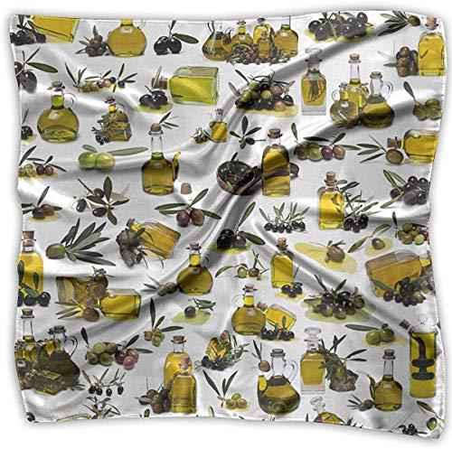 Hoklcvd Frauen quadratischer Schal Olivenöl Satin Polyester Gefühl quadratischen Kopftuch Kopfschmuck